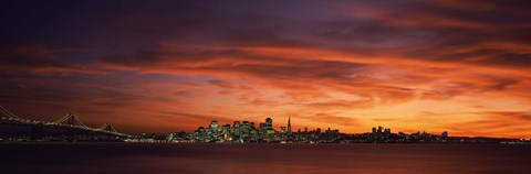 Framed Buildings in a city, View from Treasure Island, San Francisco, California, USA Print