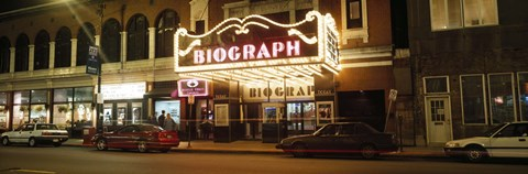 Framed Theater lit up at night, Biograph Theater, Lincoln Avenue, Chicago, Illinois, USA Print