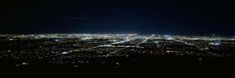 Framed Aerial view of a city lit up at night, Phoenix, Maricopa County, Arizona, USA Print