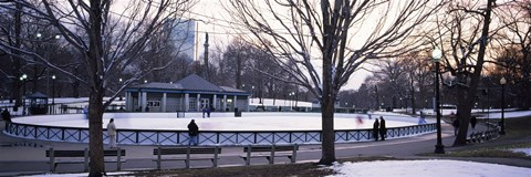 Framed Group of people in a public park, Frog Pond Skating Rink, Boston Common, Boston, Suffolk County, Massachusetts, USA Print