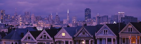 Framed City skyline at night, Alamo Square, California, USA Print
