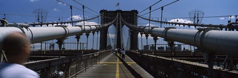 Framed Man walking on a bridge, Brooklyn Bridge, Brooklyn, New York City, New York State, USA Print