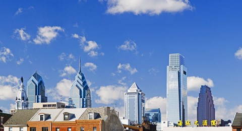 Framed Buildings in a city, Chinatown Area, Comcast Center, Center City, Philadelphia, Philadelphia County, Pennsylvania, USA Print