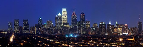 Framed Buildings lit up at night in a city, Comcast Center, Center City, Philadelphia, Philadelphia County, Pennsylvania, USA Print