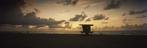 Framed Silhouette of a lifeguard hut on the beach, South Beach, Miami Beach, Miami-Dade County, Florida, USA Print