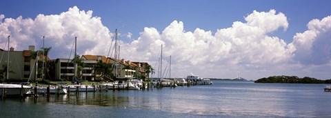 Framed Boats docked in a bay, Cabbage Key, Sunshine Skyway Bridge in Distance, Tampa Bay, Florida, USA Print