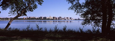 Framed Lake Monona and Madison, Wisconsin Through the Trees Print