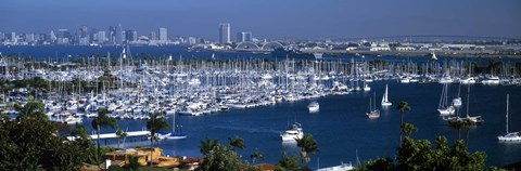 Framed Aerial view of boats moored at a harbor, San Diego, California, USA Print