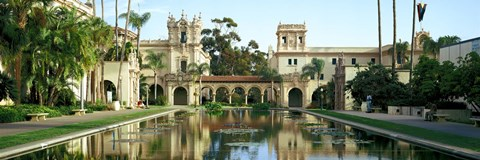 Framed Reflecting pool in front of a building, Balboa Park, San Diego, California, USA Print