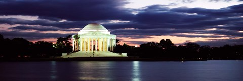 Framed Monument lit up at dusk, Jefferson Memorial, Washington DC, USA Print