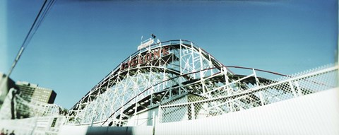Framed Low angle view of a rollercoaster, Coney Island Cyclone, Coney Island, Brooklyn, New York City, New York State, USA Print