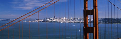 Framed Suspension bridge with a city in the background, Golden Gate Bridge, San Francisco, California, USA Print