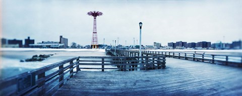 Framed City in winter, Coney Island, Brooklyn, New York City, New York State, USA Print