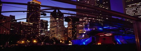 Framed Buildings lit up at night, Millennium Park, Chicago, Cook County, Illinois, USA Print