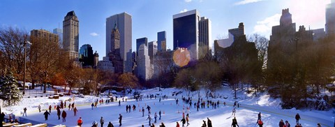 Framed High angle view of people skating in an ice rink, Wollman Rink, Central Park, Manhattan, New York City, New York State, USA Print