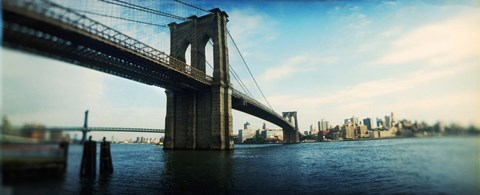 Framed Bridge across a river, Brooklyn Bridge, East River, Brooklyn, New York City, New York State Print