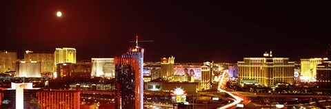 Framed City lit up at night, Las Vegas, Nevada, USA Print