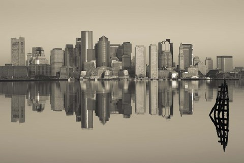 Framed Reflection of buildings in water, Boston, Massachusetts, USA Print