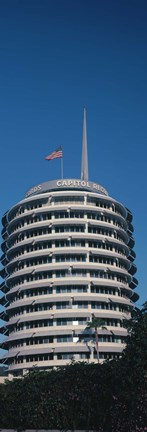 Framed Low angle view of an office building, Capitol Records Building, City of Los Angeles, California, USA Print