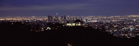 Framed Aerial view of Los Angeles at night Print
