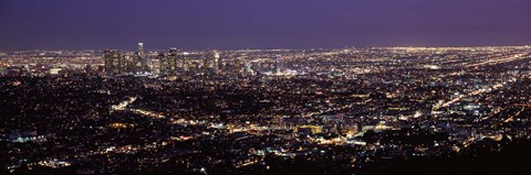 Framed Night View of Los Angeles, California with Purple Sky Print