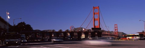 Framed Toll booth with a suspension bridge in the background, Golden Gate Bridge, San Francisco Bay, San Francisco, California, USA Print