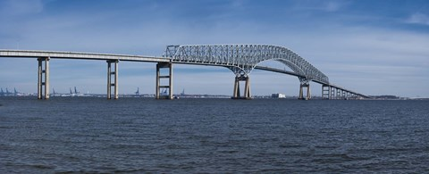 Framed Bridge across a river, Francis Scott Key Bridge, Patapsco River, Baltimore, Maryland, USA Print
