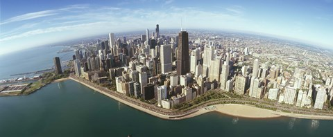 Framed Aerial view of Chicago from the lake, Cook County, Illinois, USA 2010 Print