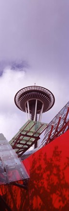 Framed Low angle view of a tower (vertical), Space Needle, Seattle, Washington State Print