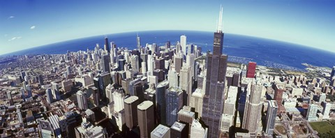 Framed Sears Tower, Aerial View, Lake Michigan, Chicago, Illinois, USA Print
