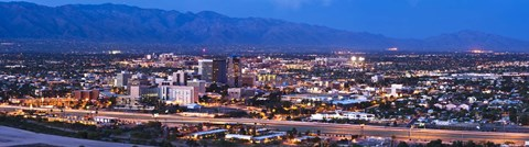 Framed City lit up at dusk, Tucson, Pima County, Arizona, USA 2010 Print