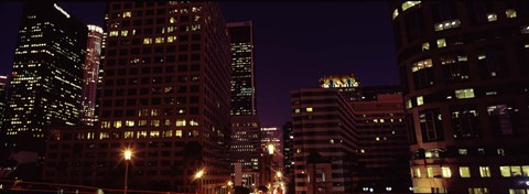 Framed Buildings lit up at night, City of Los Angeles, California Print