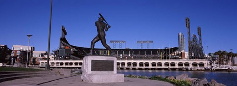 Framed Willie Mays statue in front of a baseball park, AT&T Park, 24 Willie Mays Plaza, San Francisco, California Print