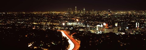 Framed City lit up at night, Hollywood, City Of Los Angeles, Los Angeles County, California, USA 2010 Print