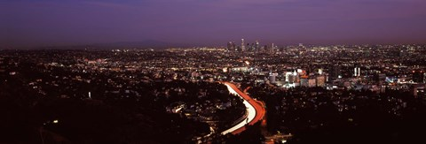 Framed City lit up at night, City Of Los Angeles, Los Angeles County, California, USA 2010 Print