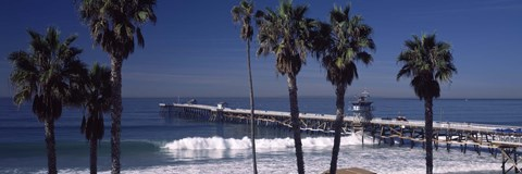 Framed Pier over an ocean, San Clemente Pier, Los Angeles County, California, USA Print