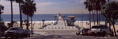 Framed Pier over an ocean, Manhattan Beach Pier, Manhattan Beach, Los Angeles County, California, USA Print