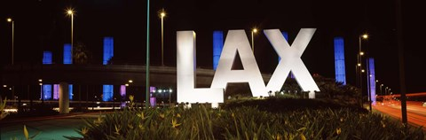 Framed Neon sign at an airport, LAX Airport, City Of Los Angeles, Los Angeles County, California, USA Print