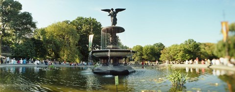Framed Fountain in a park, Central Park, Manhattan, New York City, New York State, USA Print