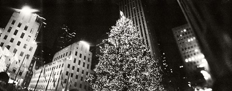 Framed Christmas tree lit up at night, Rockefeller Center, Manhattan (black and white) Print
