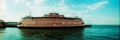 Framed Ferry in a river, Staten Island Ferry, Staten Island, New York City, New York State, USA Print