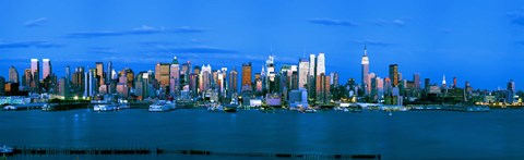 Framed Manhattan skyline at dusk, New York City, New York State, USA Print