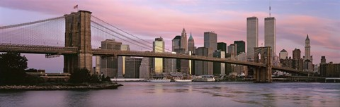 Framed Bridge across a river, Brooklyn Bridge, Manhattan, New York City, New York State, USA Print