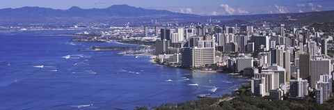 Framed High angle view of a city at waterfront, Honolulu, Oahu, Honolulu County, Hawaii Print