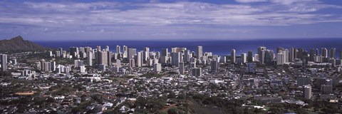 Framed Aerial view of a city, Honolulu, Oahu, Honolulu County, Hawaii, USA 2010 Print