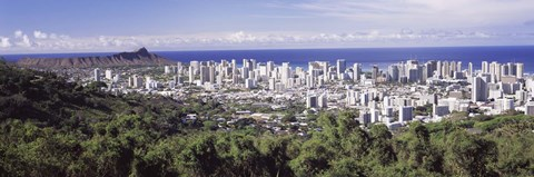 Framed View of Honolulu with the ocean in the background, Oahu, Honolulu County, Hawaii, USA 2010 Print