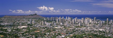 Framed View of a city, Honolulu, Oahu, Honolulu County, Hawaii, USA 2010 Print