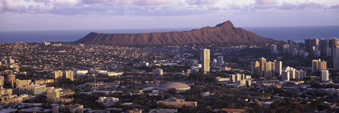 Framed City view of Honolulu with mountain in the background, Oahu, Honolulu County, Hawaii, USA 2010 Print