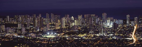 Framed High angle view of a city lit up at night, Honolulu, Oahu, Honolulu County, Hawaii Print