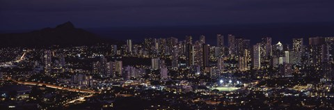 Framed High angle view of a city lit up at night, Honolulu, Oahu, Honolulu County, Hawaii, USA Print